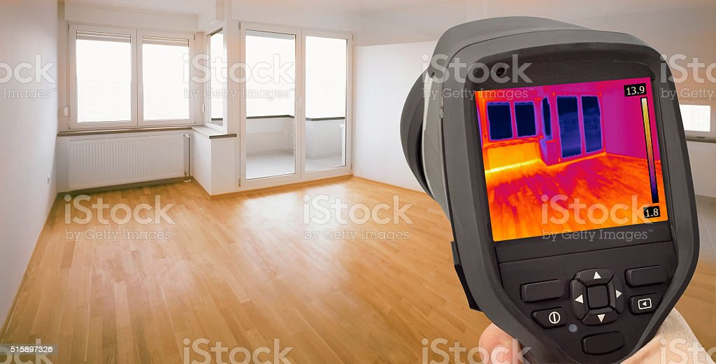 Heat Leak Infrared Detection stock photo