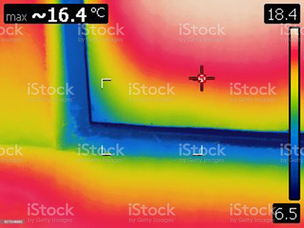 Heat loss from home on outer door frame stock photo