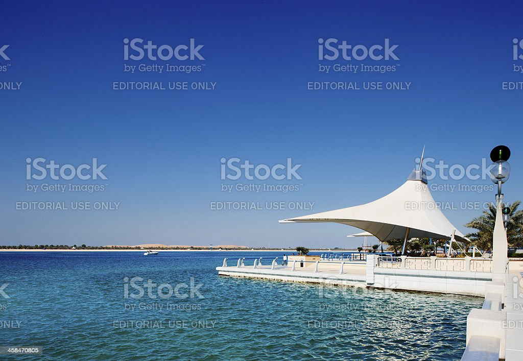 heat of the midday sun leaves Corniche deserted stock photo