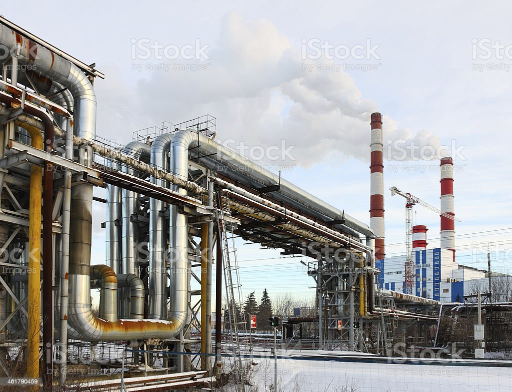 heat pipe electric station stock photo