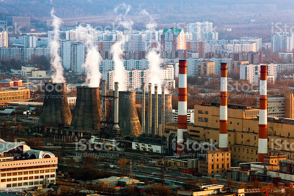 Heat Power Station in City. Bird's eye view royalty-free stock photo