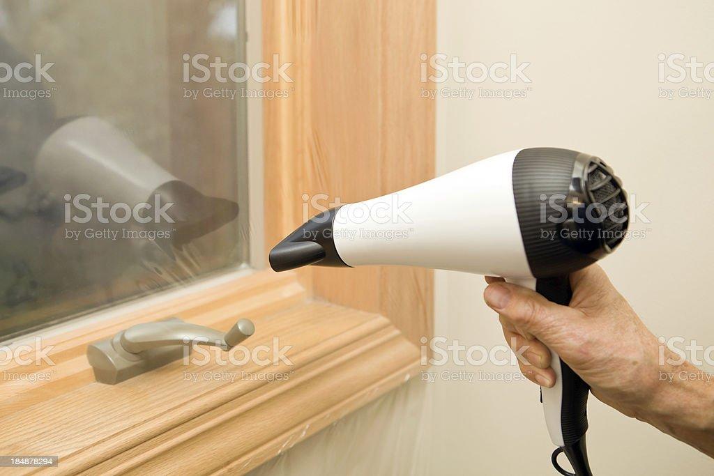 Heat Shrinking Plastic Window Film Insulation stock photo
