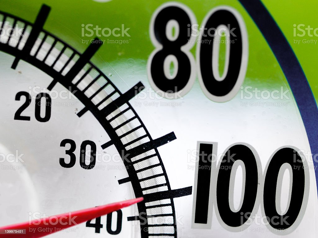 Heat temperature gauge reading 100 stock photo