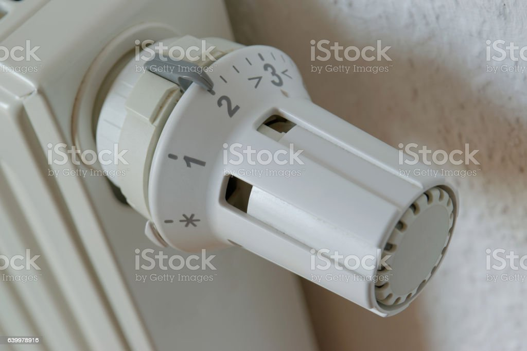 Heater thermostat at level 2 stock photo