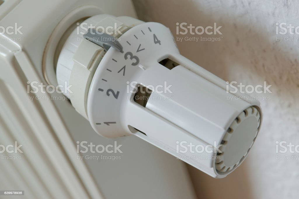 Heater thermostat at level 3 stock photo