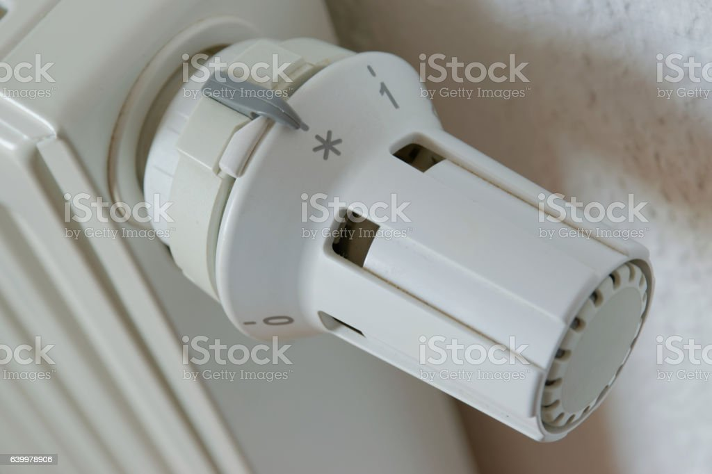 Heater thermostat at level nonfreeze stock photo