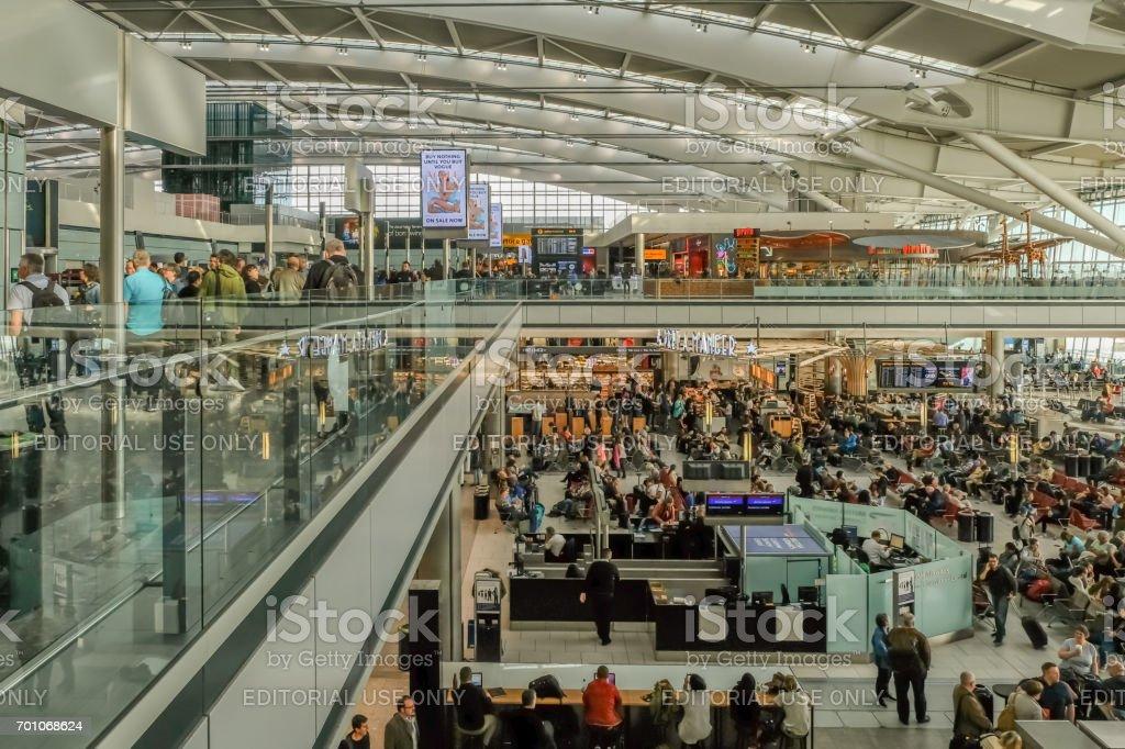 Heathrow, London - March 7, 2017: Heathrow Airport, Terminal 5, stock photo