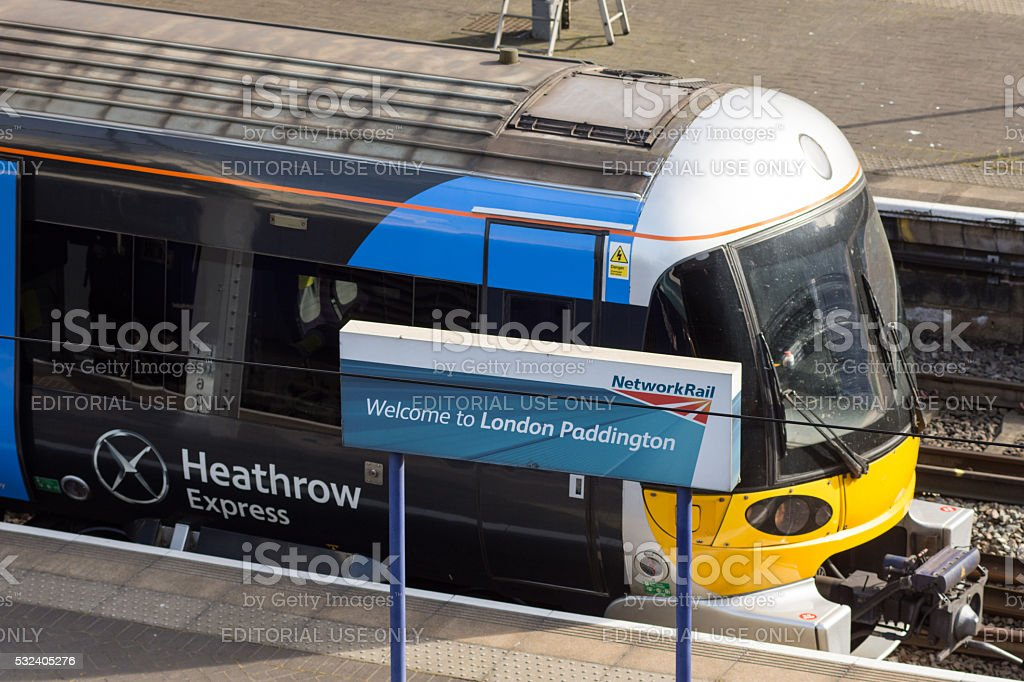 Heathrow Express at Paddington Station stock photo