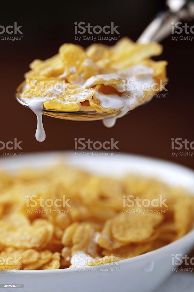 heathy breakfast with corn flakes and milk stock photo