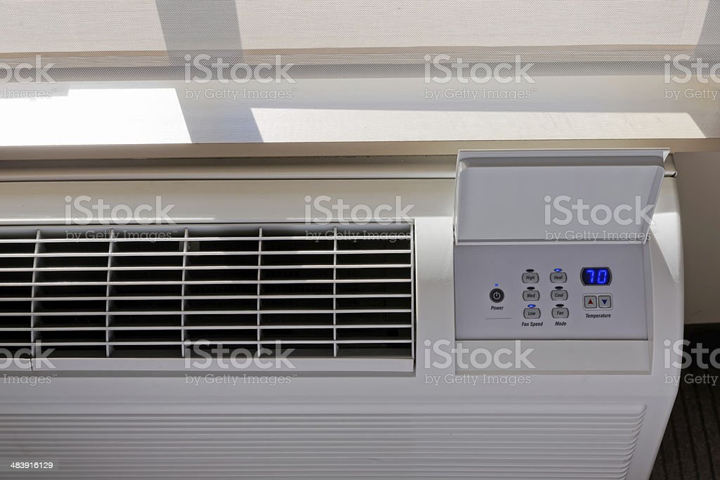 Heating - Air conditioning Thermostat under sun light. stock photo