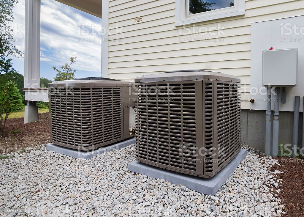 Heating and air conditioning units stock photo