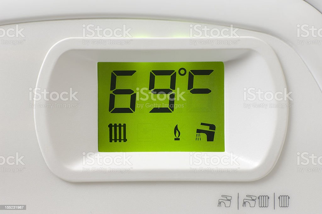 Heating boiler control panel detail stock photo