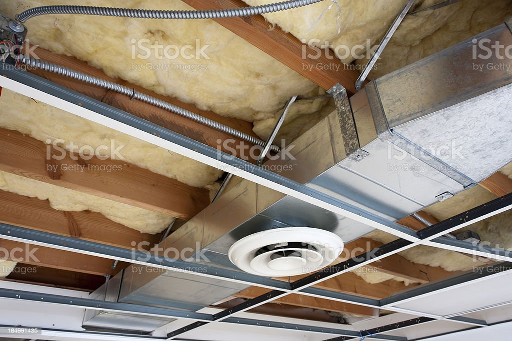 Heating Ductwork in Office Space Being Remodeled stock photo