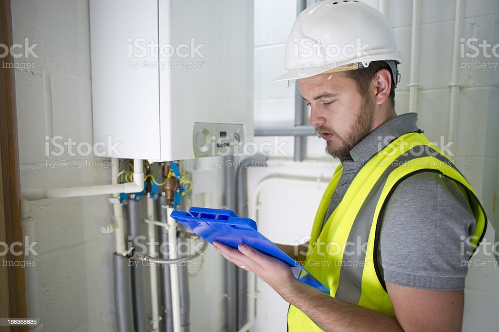 heating engineer stock photo