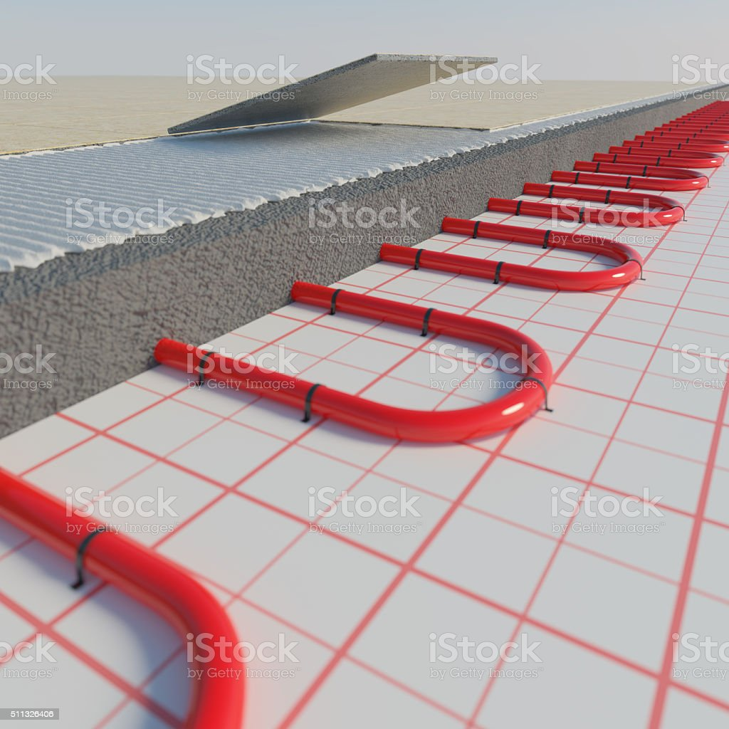 Heating floor  in layers. stock photo