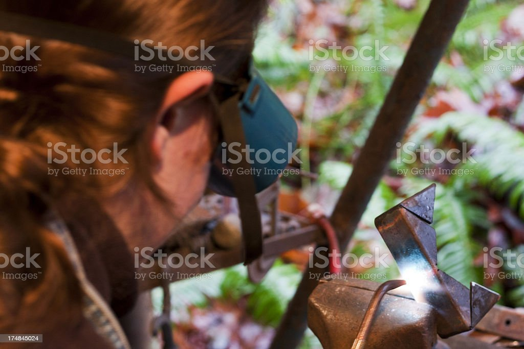 Heating Metal with an Oxyacetylene Torch stock photo