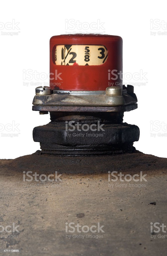Heating oil tank and red gauge isolated against white royalty-free stock photo