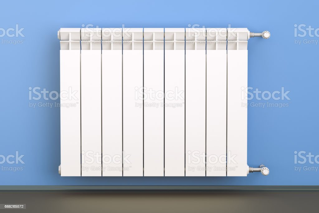 heating radiator with radiator thermostatic valve on the wall, 3D rendering stock photo