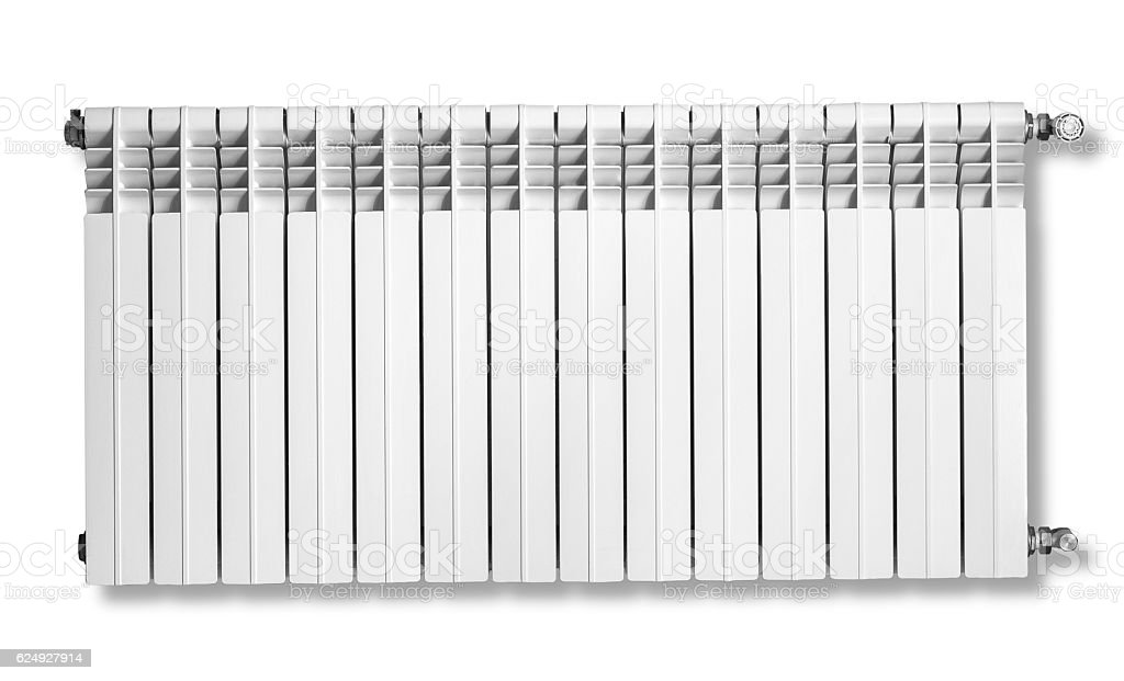 Heating radiator with thermostat stock photo