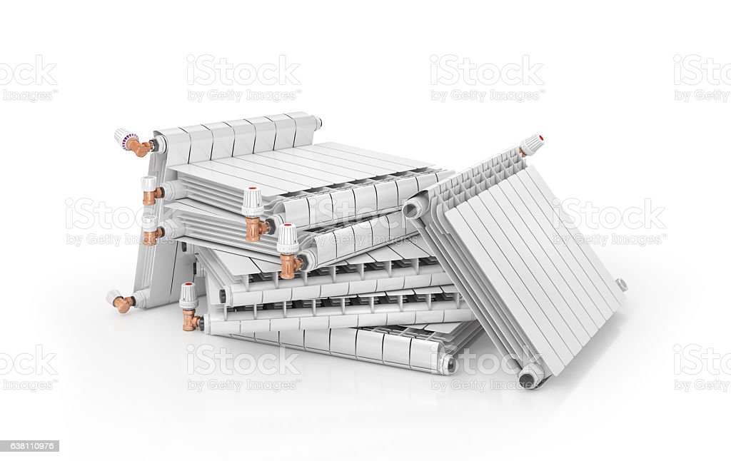 Heating radiators stock photo