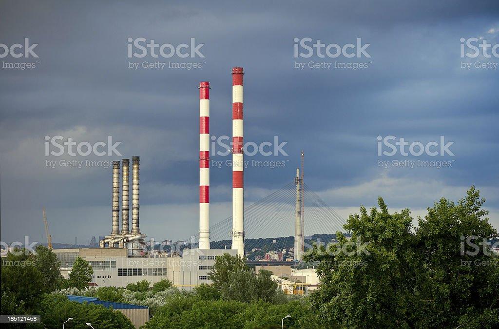 Heating station chimneys stock photo