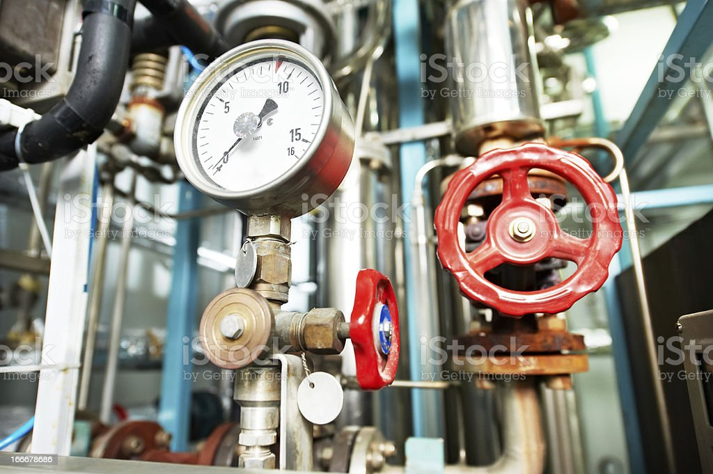 Heating system Boiler room equipments stock photo