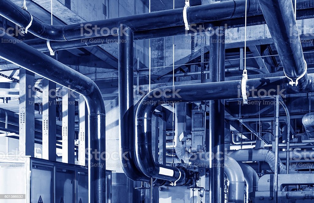 heating system in a boiler room stock photo