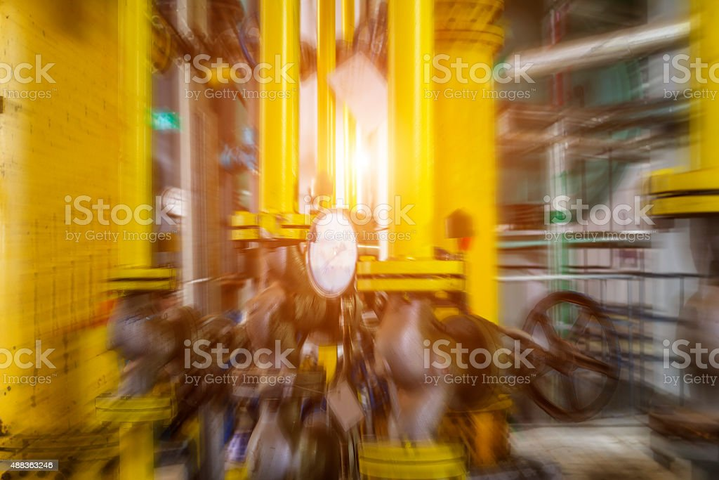 heating system. Pipelines, water pump, valves, manometer stock photo