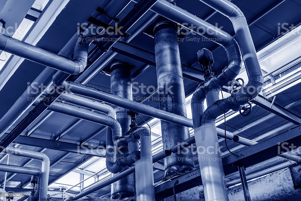 heating system. Pipelines, water pump, valves, manometers. stock photo