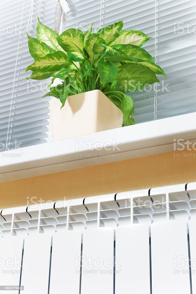 Heating white radiator stock photo