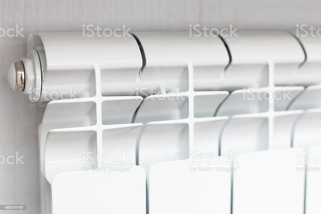 Heating white radiator radiator. stock photo