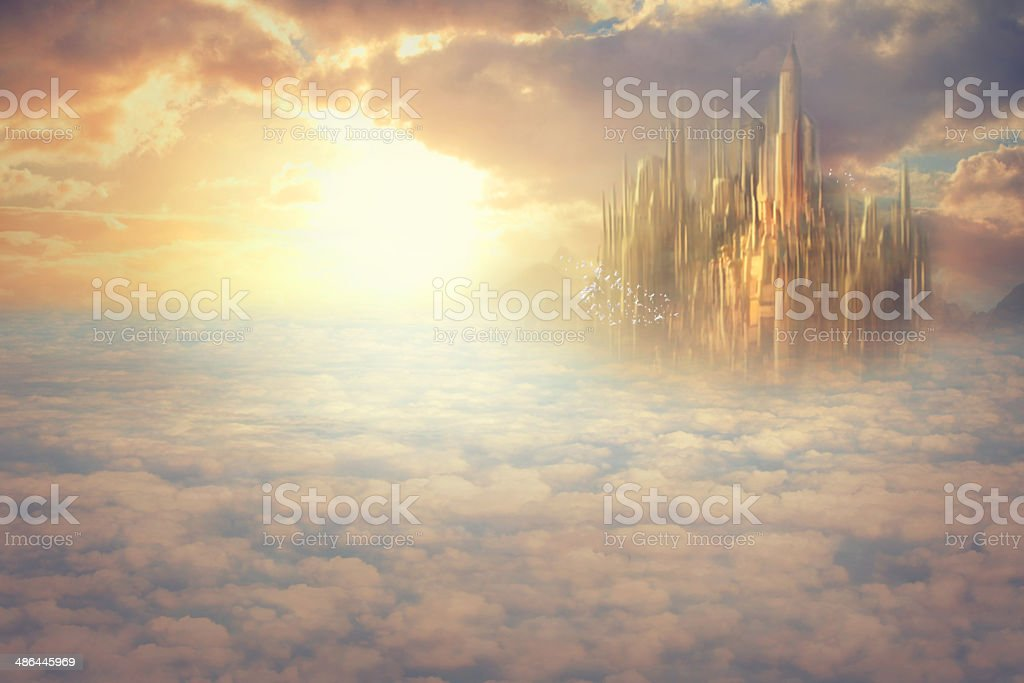 Heaven above the clouds vector art illustration