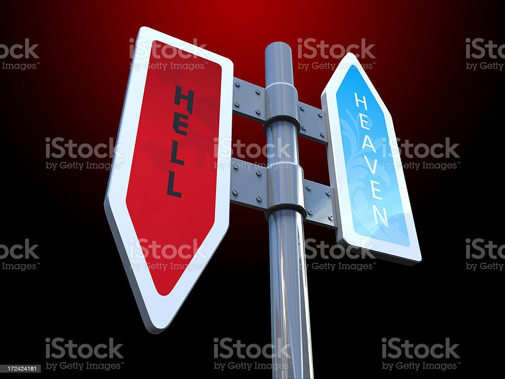 Heaven and Hell Sign royalty-free stock photo
