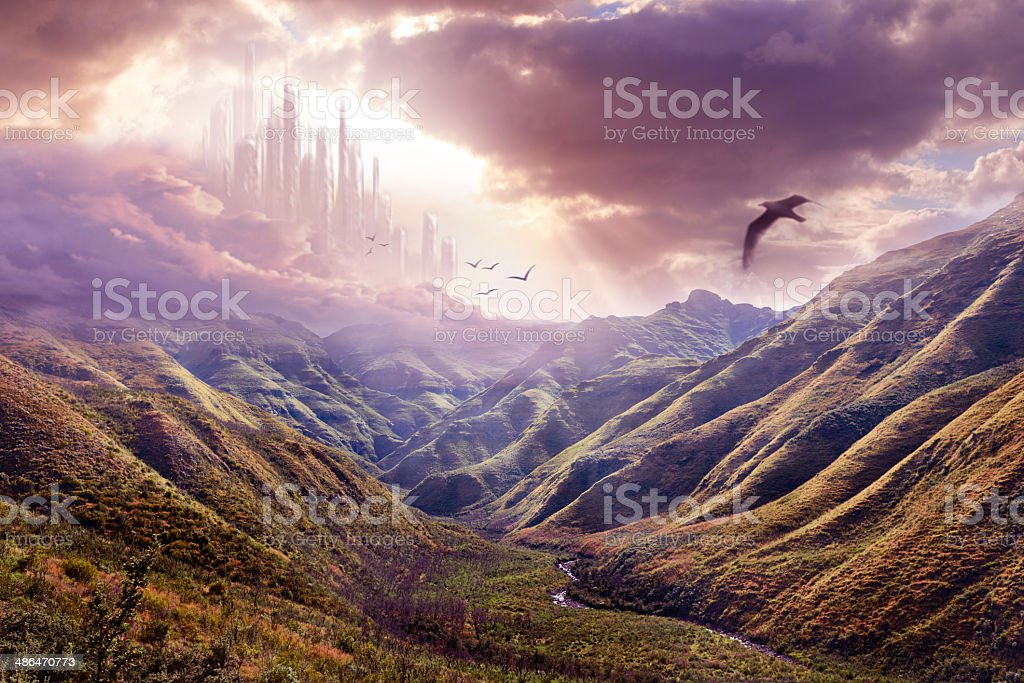 Heaven and it's awe-inspiring beauty vector art illustration