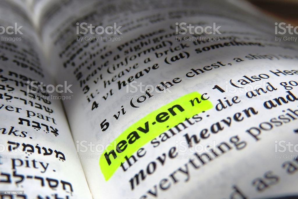 Heaven - dictionary definition stock photo