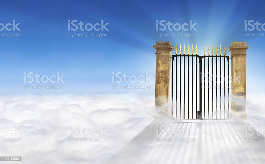 Heaven Gate on Clouds + copy space stock photo