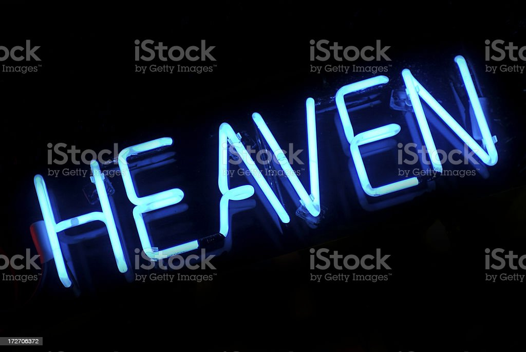 Heaven Single Word Message in Blue Neon on Black royalty-free stock photo