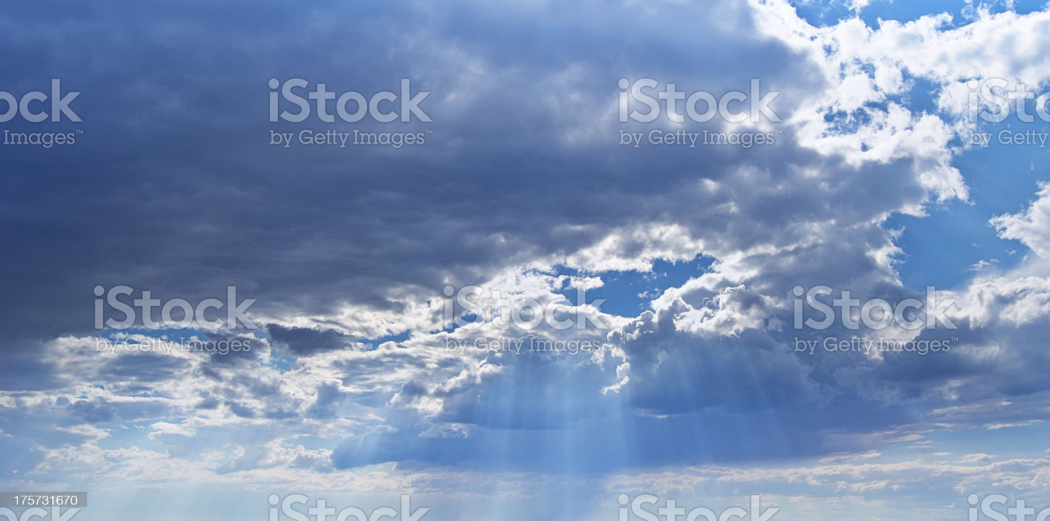 Heavenly Blue Sky With Sun Rays royalty-free stock photo