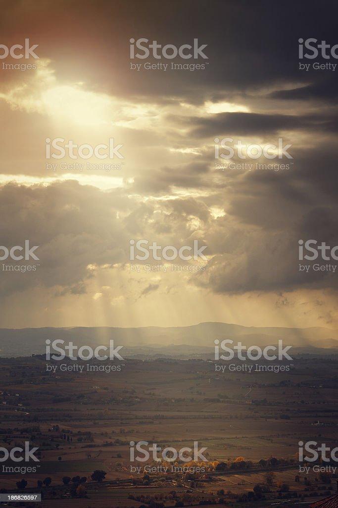 heavenly lights over Tuscany royalty-free stock photo