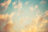 Heavenly Sky And Clouds In Pastel Color