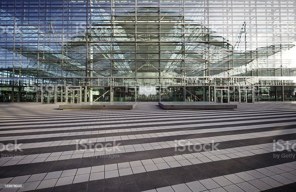 heavens gate - reflecting at modern facade stock photo