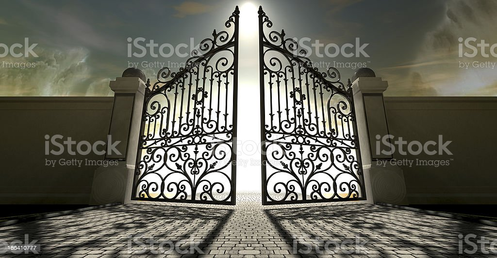 Heavens Open Ornate Gates stock photo