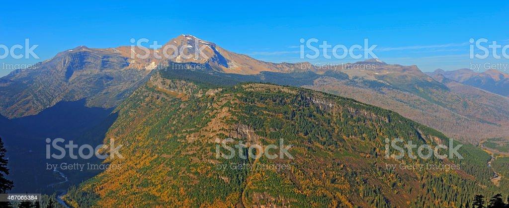 Heavens Peak and McDonald Creek Valley stock photo