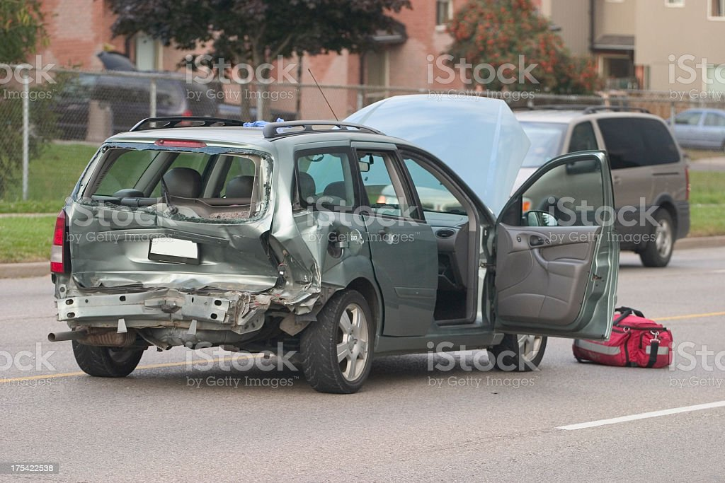 Heavily damaged car after an accident royalty-free stock photo