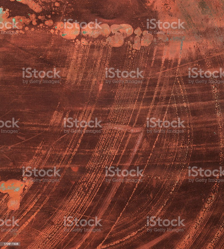 heavily distressed copper surface royalty-free stock photo