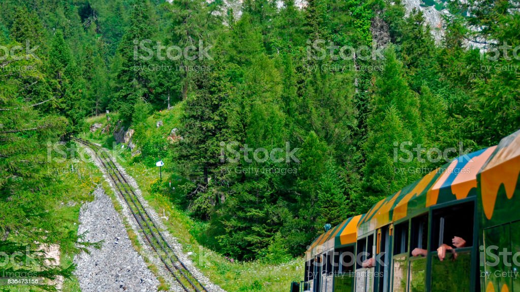 heavy ascent of a crog railway  track stock photo