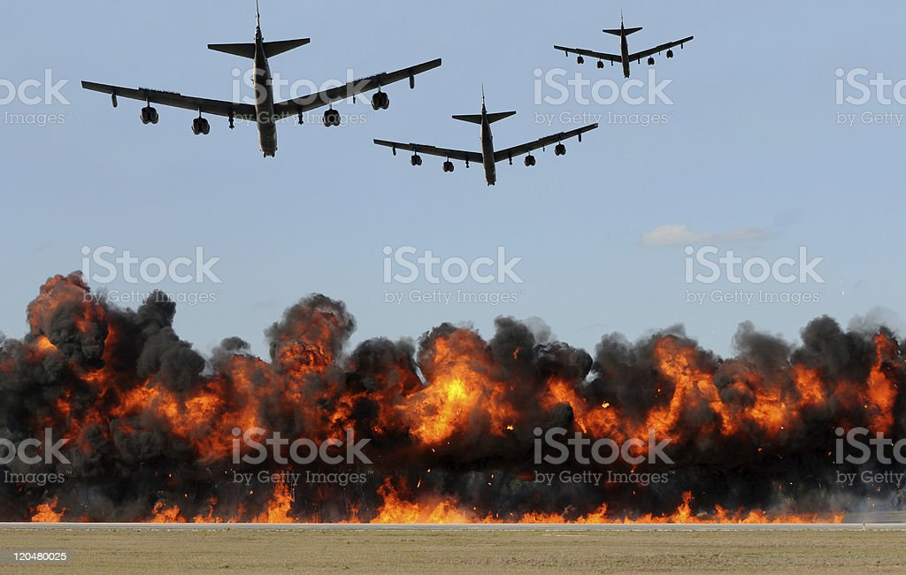Heavy bombers attacking stock photo