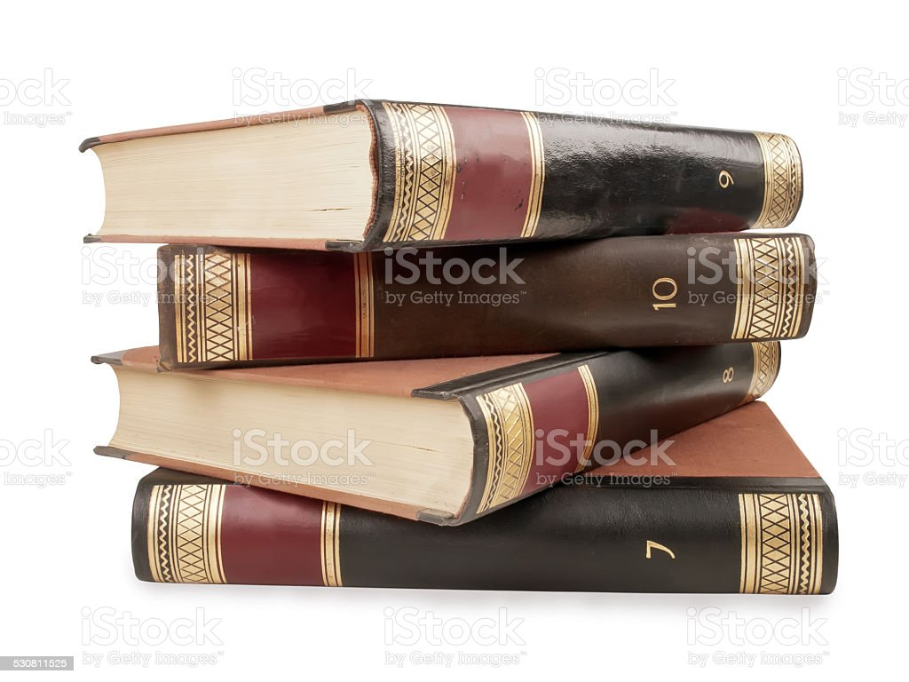 Heavy book tomes stock photo