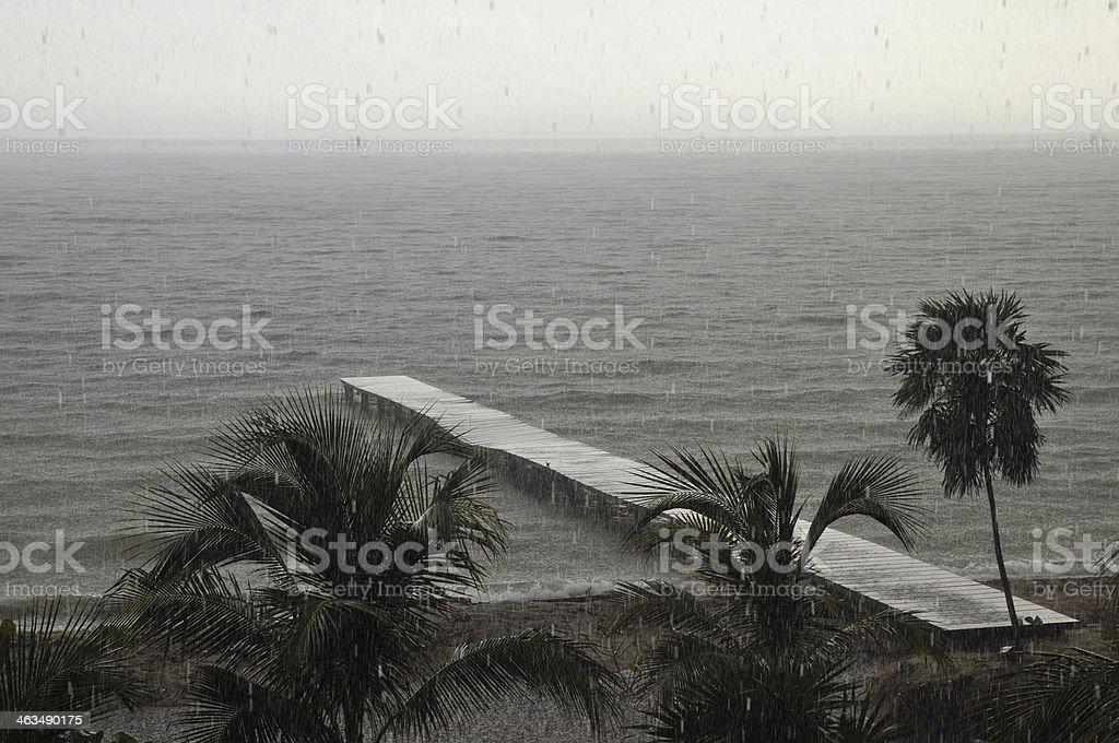 Heavy Caribbean Rain Storm on a Tropical Beach stock photo