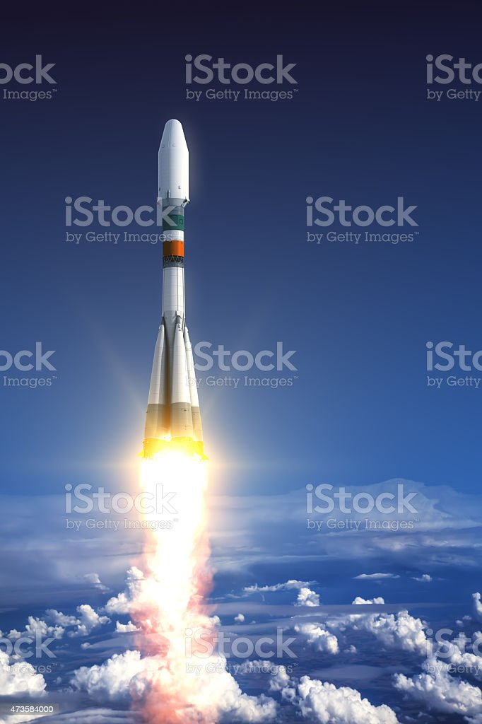 Heavy Carrier Rocket Launch stock photo